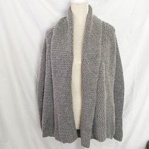Ann Taylor chunky knit open cardigan gray